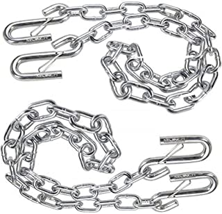 """NBJINGYI 3/16"""" X 48"""" Trailer Safety Chain with Spring Clips Grade 30 with 2 S Hook 2PCS"""