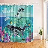 CDHBH Nautical Sea Life Kinder-Vorhang mit Wal & Delphine Fische im Meer schwimmen Stoff Polyester Wasserdicht Duschvorhang für Badezimmer, 71x 71in Duschvorhang Haken.