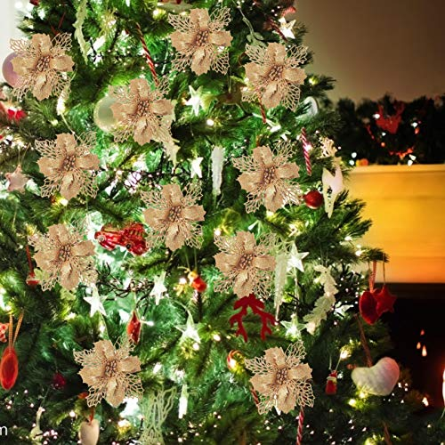 Purpurina Flores artificiales,Flores Navidad Artificiales,Flores artificiales de Navidad,Flores Artificiales de Poinsettia,Navidad Decoración Adorno,Florales para Decoración de Navidad (champán)