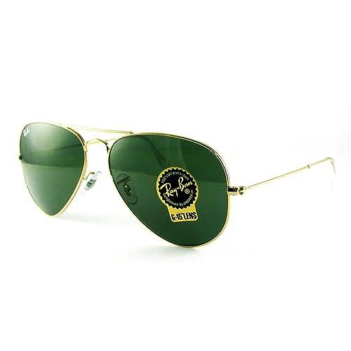 Ray-Ban RB3025 Classic Aviator Sunglasses Gold Crystal Green (L0205) RB 3025 b9b20667bf