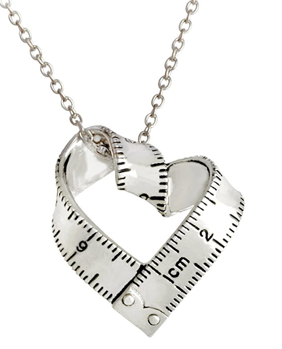 Greendou Fashion Jewelry Vintage Gold/Silver Tape Measure Twisted Heart Shaped Ruler Pendant Necklace (Silver)