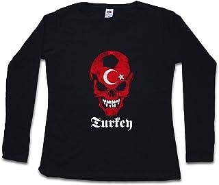 BLACK TURKEY TURKISH FÚTBOL FOOTBALL SOCCER SKULL FLAG MUJER WOMAN T-SHIRT DE MANGA LARGA – Istanbul Turquía bandera cráneo Fan Hooligan Istanbul Constantinople Türkiye Islam Muslim Shirt Tamaños S - 5XL