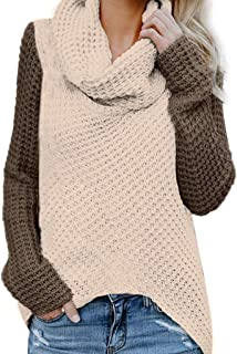 Shusuen Womens Long Sleeve Cowl Neck Casual Knitted Pullover Sweaters