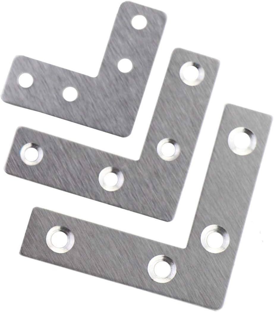 4 Fori 60 * 1.0mm LINVINC Staffe Angolari Confezione da 20 Pezzi Staffe Angolari di Supporto a 90 Gradi Ripiano a Forma di L con Viti