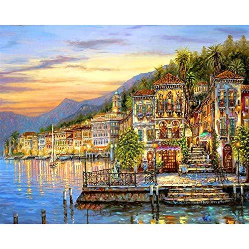 Pintura por números para adultos niños DIY pintura al óleo pintada a mano paisaje de la ciudad pintura decoración del hogar A4 60x75cm