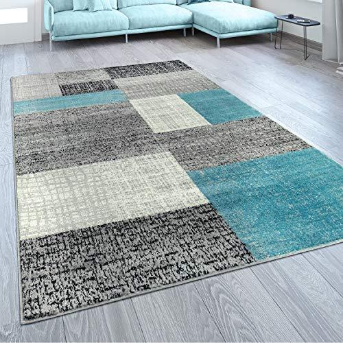 Paco Home Designer Wohnzimmer Teppich Modern Kurzflor Karo Design Türkis Grau Weiß, Grösse:120x170 cm