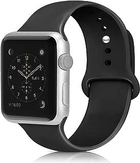 コンパチブル Apple Watch バンド アップルウォッチ バンド スポーツバンド シリコン製 柔らかい 交換ベルト 通気 耐衝撃 防汗 Apple Watch Series 5/4/3/2/1に対応 (42/44mm S/M, ブラック)