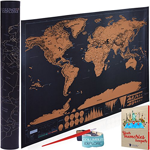 World Map Poster | Scratch Off Travel Map with Maps of The World