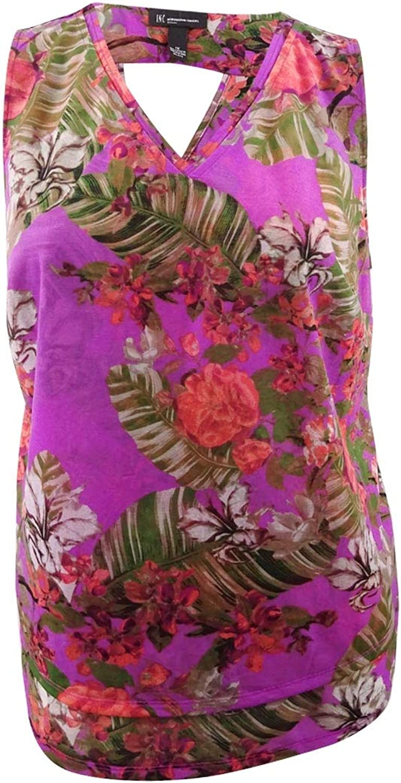 INC International Concepts Plus Size FloralPrint Shell