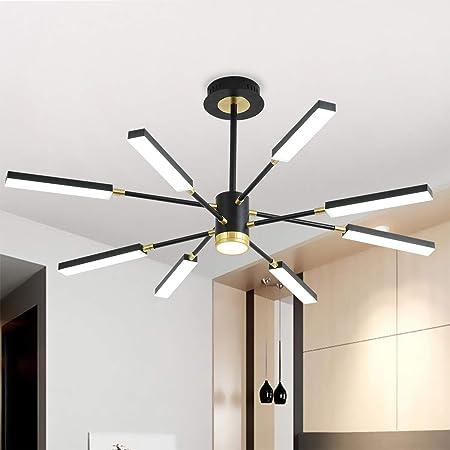 Sputnik Chandeliers,Garwarm 8-Lights Modern LED Chandelier, Pendant Lighting Fixture for Bedroom Livingroom Dinning Room,Black+Gold,6500K