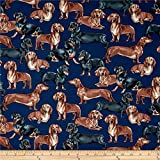 Timeless Treasures Dachshunds Navy, Quilting...