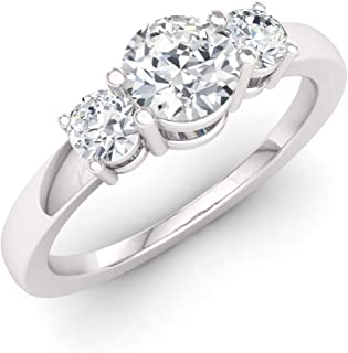 Diamondere Natural and Certified Gemstone and Diamond Engagement Ring in 14K White Gold | 0.48 Carat Three Stone Engagemen...