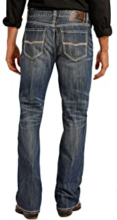 Rock & Roll Denim Men's Relaxed Fit Double Barrel Straight Leg Vintage Wash Western Jeans