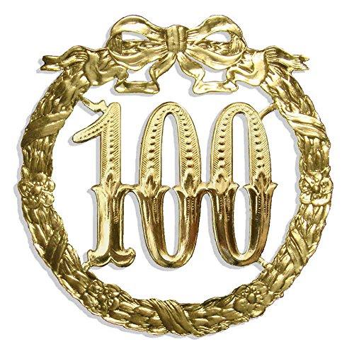 Kunze A014024001 Jubiläumszahl 100, Ø 13 cm, Gold