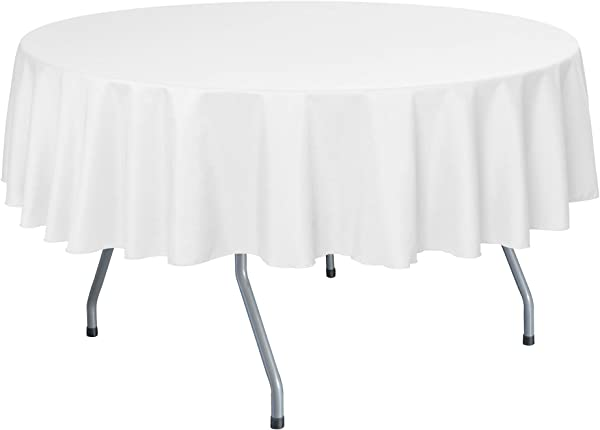 Ultimate Textile 10 Pack 60 Inch Round Polyester Linen Tablecloth Fits Tables Smaller Than 60 Inches In Diameter White