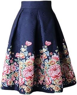 a61b993f5d67 Donna Gonna Vita Alta Gonna A Ruota Sezione Medio Lunga Eleganti Stampato  Floreale Vintage Moda Anni