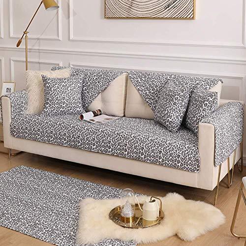 ZH Leopard Sofa Cover, Trapuntato Sofa Cover Asciugamani Antiscivolo Couch Copertura Divano Cuscino Cotone Slipcover Divano (Color : B, Size : 90x70cm(35x28inch))