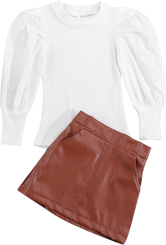 Toddler Baby Girls Clothes Outfits Ruffled Print Long Puff Sleeve T-Shirt Tops Short Mini Skirt 2Pcs Princess Outfits
