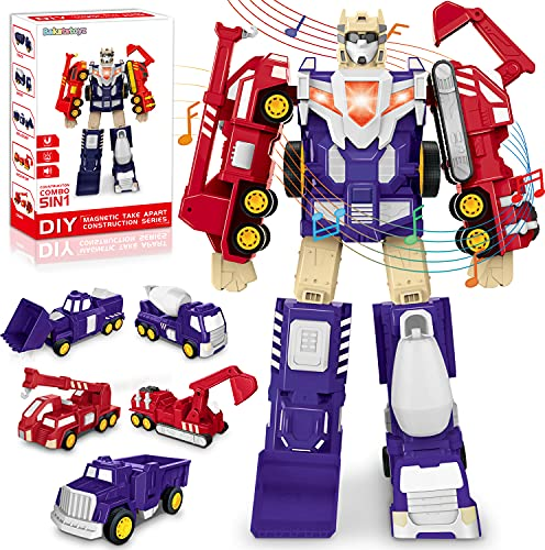 5 in 1 Transform Robot Car Toy, Construction Toy for Boy Toddler Kid, 5 Pull Back Truck Assemble Into Robot Action Figure with Light & Sound, Magnetic Take Apart STEM Toys Christmas Birthday Gift