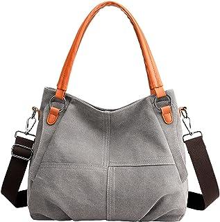 E-girl Damen Canvas Handtaschen Grosse Kapazität Schultertasche Top Griff Tasche Reißverschluss Leinentasche Tragetasche T...