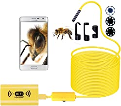 WIFI Endoscope Camera, Wireless Waterproof Inspection Borescope 8Mm Lens HD1200P Soft Hard Wire for PC Android IOS