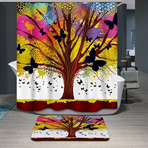 Antart Rideau de Douche Arbre-2 180x180cm et Tapis de Bain Assortissant - Tissu Polyester Imperméable Anti-moisissure Imprimé Numérique avec 12 Crochets - Accessoires Salle de Bain - Thème Art