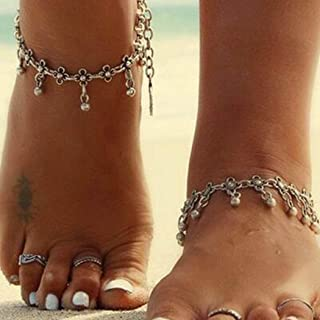 Edary Boho Tassel Anklet Bracelet Beach Belly Dance Silver Layered Anklets Chain Foot Jewelry for Women and Girls(1PC)