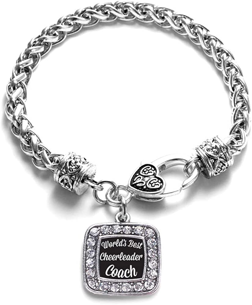 Fashionable Inspired Silver - depot Square Charm with Cubic Zircon Bracelet