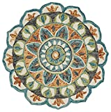 LR Home Dazzle Area Rug, 4' Round, Teal/Green
