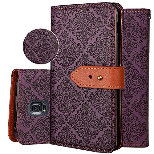 Galaxy S5 Wallet Case,S5 Purse Case,Auker 3 Card Holder Vintage Book Leather Wallet Case Magnetic Closure Folio Flip Full Body Cover with ID License Card Slot&Strap for Samsung Galaxy S5 (Purple)