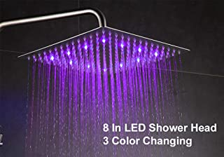 Fyeer 8 Inch LED Fixed Rainfall Shower Head, Ultra-thin Wall/Ceiling Mounted Square Shower Head Brushed Nickel, 304 Stainless Steel, Temperature Sensor 3 Colors Changing