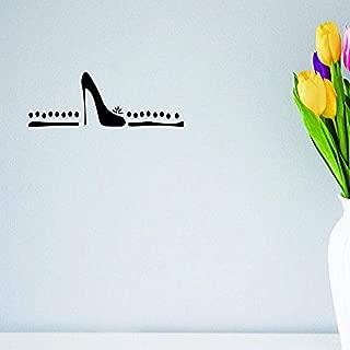 "Design with Vinyl Moti 1525 2 Shoes High Heel Stilettos Women Ladies Girl Teen Fashion Peel & Stick Wall Sticker Decal, 12"" x 30"", Black"