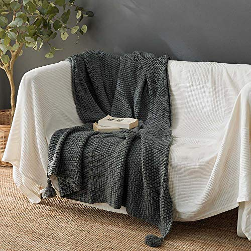 Gebreide Tassel Throw Blanket 100% Katoen met Pompoms zachte warme Knit Gehaakte Deken voor Couch Sofa Beach Chair Bed Woondecoraties, 130x170cm,Gray