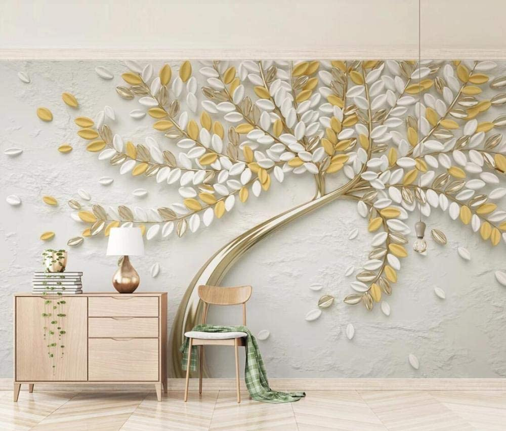 3d Wallpaper Tv Wall Decor Stickerr Embossed Golden Fortune Tree Luxury Modern Wall Paper Wall Stickers For Bedroom Decor Amazon Com