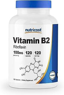 Vitamin B2 (Riboflavin) 100mg, 120 Capsules - Gluten Free and Non-GMO...