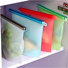 House of Quirk 4pc Reusable Silicone Food Preservation Bag Gallon - Zip Sealed Storage Container (size-20x17x15cm - capacity-1000 ML))