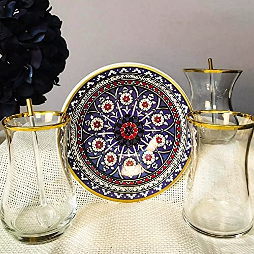 Juego de té para 6 personas, 12 piezas de demostración figurado para 6 personas, platos de té de dibujo impreso, vasos dorados, vasos de paşabahçe