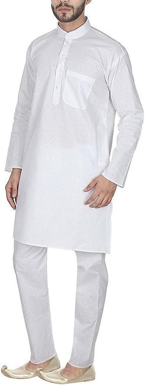 Royal Men's Traditional Clothing Cambric White Kurta Pyjama by Kurta