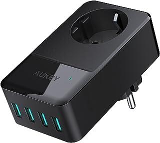 AUKEY Cargador USB un Enchufe con 4 USB Puertos (5V/2,4A * 4) para Smartphone, Portátiles, Lámpara de Escritorio etc.