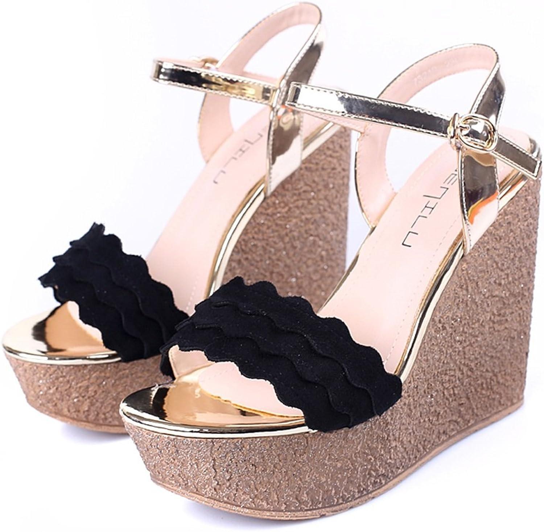 Heels Wedges Fashion Platform shoes Summer Slope Sandals Girls 11cm Platform Heels Fashion Fish Head shoes Can Be Wild (color   Black, Size   36)