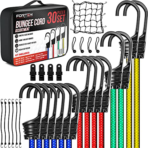 FORTEM Bungee Cords with Hooks, 30pc Bungie Cords Multi Pack, Canopy Ties, Tarp Clips, Ball Bungees, Plastic Coated Metal Hooks, Cargo Net, Heavy Duty