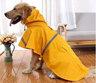 ygnjhol Dog Raincoat Adjustable Pet Water Proof Clothes Lightweight Rain Jacket Poncho Hoodies with Strip Reflective