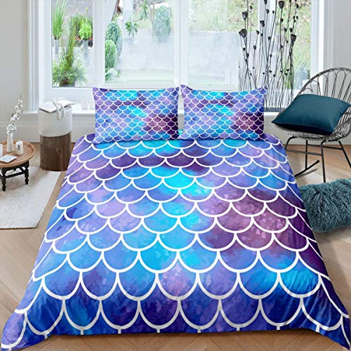 Juego de funda de edredón para niños con diseño de escamas de pez para niños, niñas, adolescentes, juego de cama de matrimonio, linda ropa de cama suave con fundas de almohada, cremallera azul