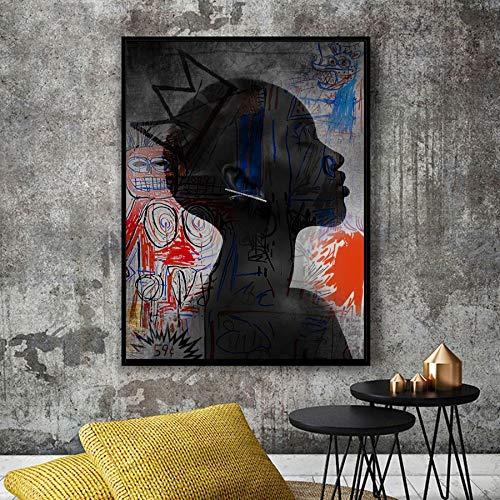 Öl auf Leinwand, Öl auf Leinwand, afrikanische Künstlerin mit Kapuze, Leinwandbild Wandgemälde, rahmenlose Malerei, 60x80cm