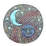 BABYCOW Camino de jardín Stepping Stone Que Brillan en la Oscuridad Luna y Sol Placa de Pared de Patio de césped, A
