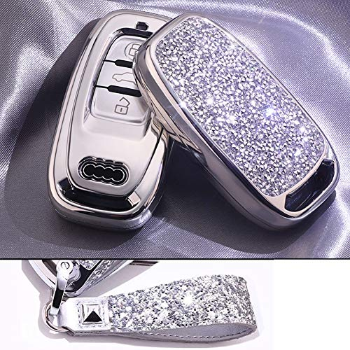Royalfox(TM) 3 buttons 3d bling smart keyless entry remote Key Fob case Cover For Audi , don't fit insert key to start remote key (Silver)