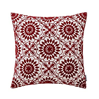 HWY Burgundy Decorative Throw Pillows Covers For Couch Sofa 18 x 18 inch, One Piece Cotton Embroidered Throw Pillows Cases For Bed, Wine Red Little Sunflower Cushion Covers