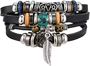 Vintage Multiple Layer Leather Bracelet Set for Men Women Charm Leaf Feather Stone Wood Beads Wrap Bracelets Pulsera New