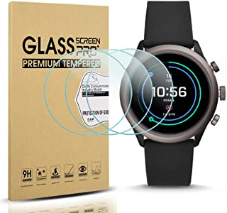 Diruite 3-Pack for Fossil Sport 43mm 2018 Screen Protector Tempered Glass for Fossil Sport 43mm Gen 4 Watch [2.5D 9H Hardness] [Anti-Scratch] [Bubble-Free]