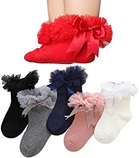 6 Pairs Baby Girls Summer Ruffles Lace Frilly Socks Toddler Little Girl Dress Princess Bow Ankle Socks